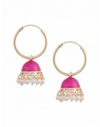 Pink Jhumki Earrings