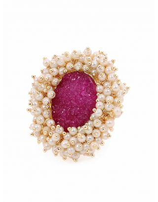 Red Stone Pearl Ring