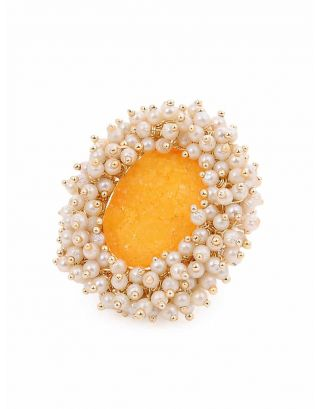 Yellow Stone Pearl Ring