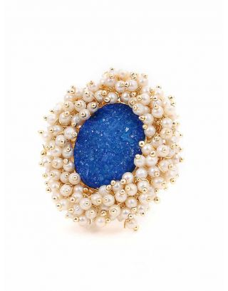 Blue Stone Pearl Ring