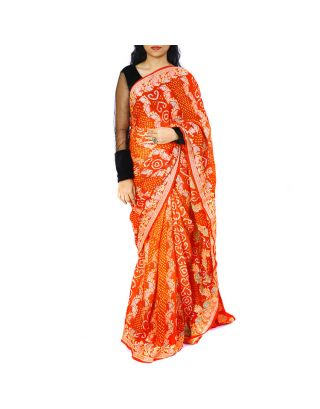 Orange Rust Bandhani Saree