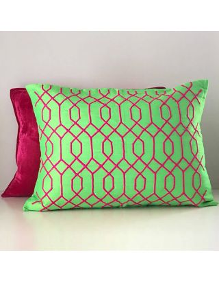 Neon Green Emboidered Cushion Cover