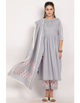 Grey Embroidered Crochet Dupatta Set