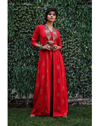 Red Front Slit Maxi Kurta and Pants