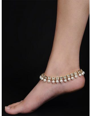 Golden Kundan Pearl Drop Anklets