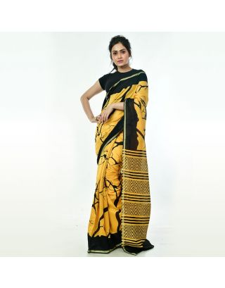 Yellow Black Printed Chanderi Silk Saree