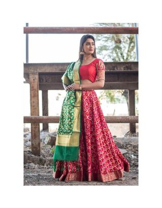 Red Banarasi Lehenga Set with Dupatta