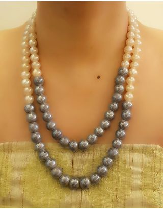 The Bead Story - White and Blue Two Layer Pearl Necklace