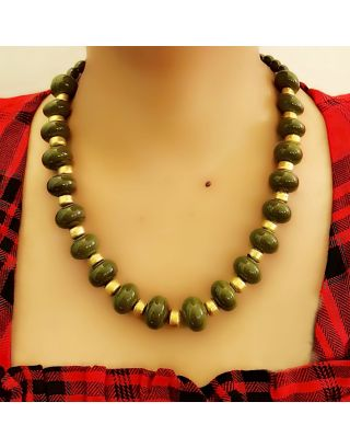 The Bead Story - Green Glass beads Necklace