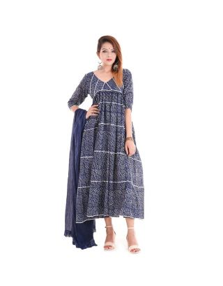 Blue Foral Dress with Pant and Duppatta