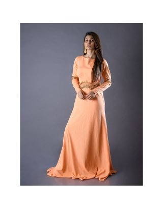 Orange Gown with Zardosi Handwork