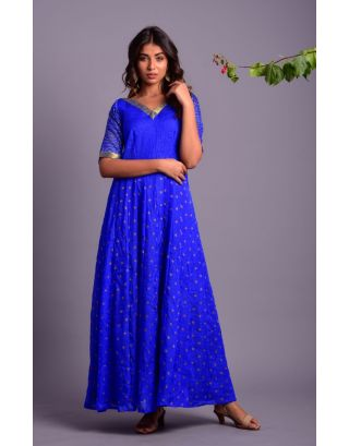 Blue Bandhani Anarkali Dress