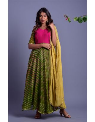Green and Magenta Striped Anarkali with Dupatta