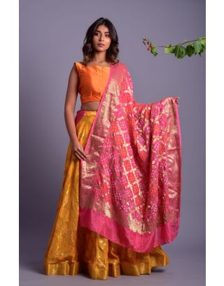 Yellow Golden Printed Lehenga Set with Pink Dupatta