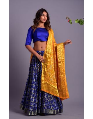 Blue Gathered Lehenga Set with Yellow Dupatta