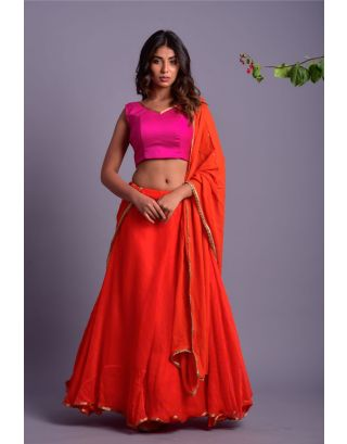 Magenta Blouse and Orange Leherriya Lehenga Set