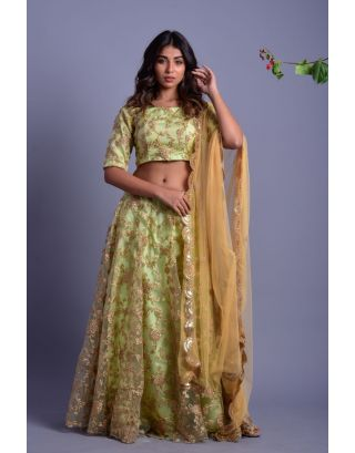 Pista Green Embroidered Lehenga Set