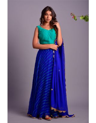Green Blouse and Royal Blue Lehenga Set