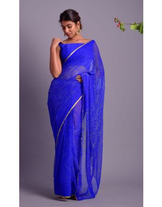 Royal Blue Bhandej Printed Saree