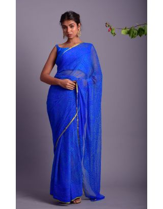 Blue Bhandej Printed Saree