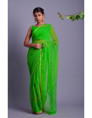 Green Bandhani Printed Saree