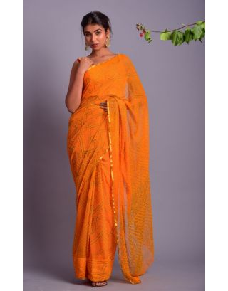 Yellow Bandhani Printed Saree