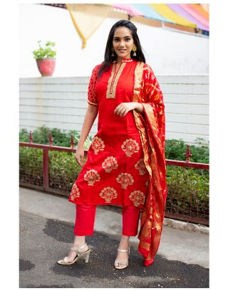 Red suit set with Bandhej Dupatta
