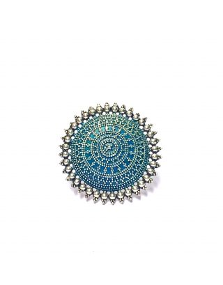 Teal Silver Round Ring