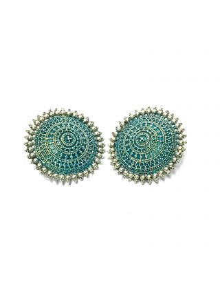 Teal Silver Round Earrings