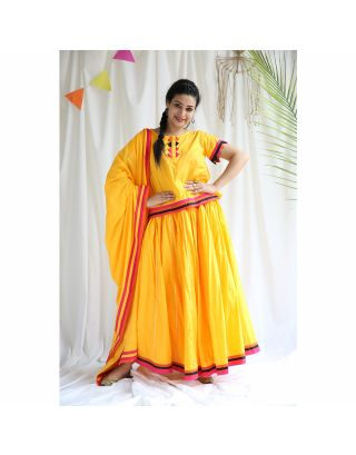 Yellow Gathered Lehenga Set