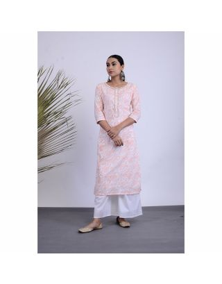White and Pink Floral Kurta Palazzo Set