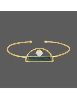 Green Stone Golden Cuff