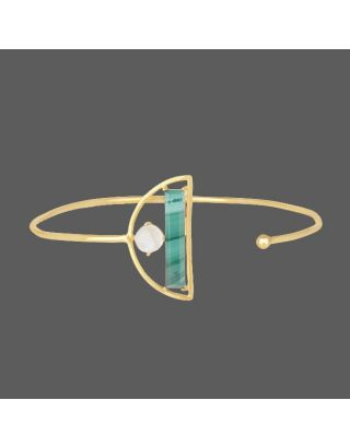 Green Stone Pearl Golden Cuff