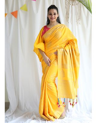 Yellow Golden Printed Cotton Saree