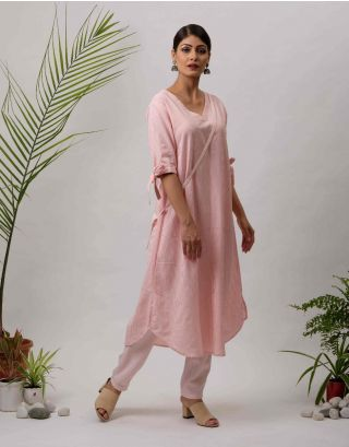 Pink Striped Kurta Pants Set