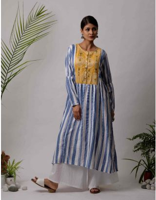 White and Blue Striped Kurta Pants Set