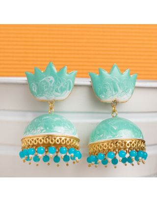 Mint Green Shaded Meenakari Jhumkas
