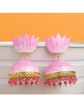 Baby Pink Shaded Meenakari Jhumkas