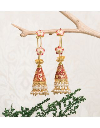 Red Royal Gold Pearl Drop Jhumkas