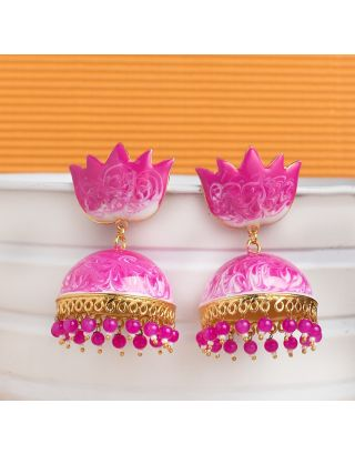 Magenta Shaded Meenakari Jhumkas