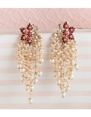 Red Meenakari Pearl Earrings