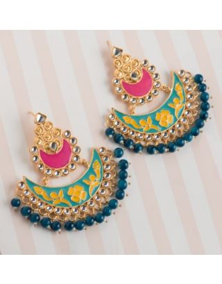Multicolor Kundan Chandbalis