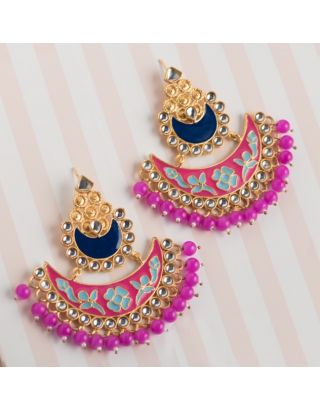 Pink and Blue Kundan Chandbalis