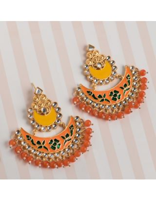 Orange and Yellow Kundan Chandbalis