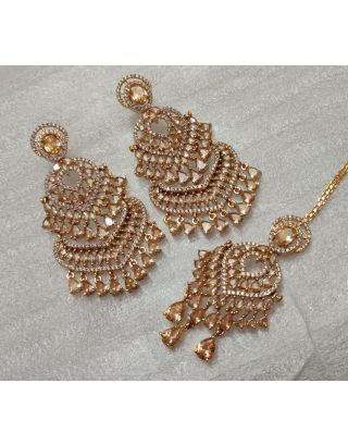 Golden Zircon Earrings With Maang Tika Set