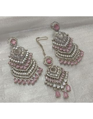 Pink Zircon Earrings With Maang Tika Set