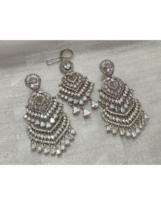 Silver Zircon Earrings With Maang Tika Set