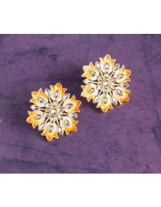 Round Kundan Meena Studs Earrings