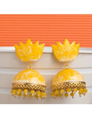 Yellow Shaded Meenakari Jhumkas