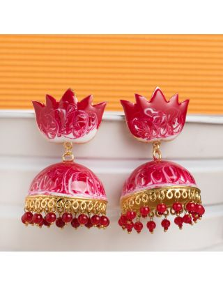 Red Shaded Meenakari Jhumkas